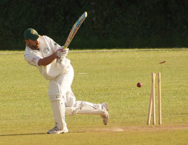 Robbie Thomas is clean bowled in the Tish 2nds v Whitland game. PICTURE: Kevin Bowen.