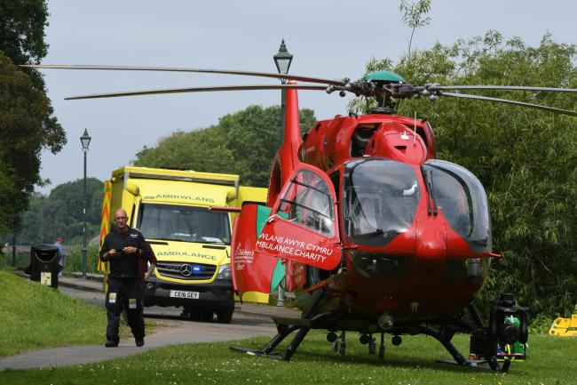 The air ambulance near the millpond.