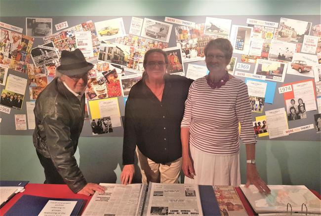 The Where You There? exhibition at Narberth Museum features Queens Hall documents donated in memory of Henry Langen by Yve Armstrong (centre). She is pictured with Sandra Benham, who devised and created the exhibition, and Cod.