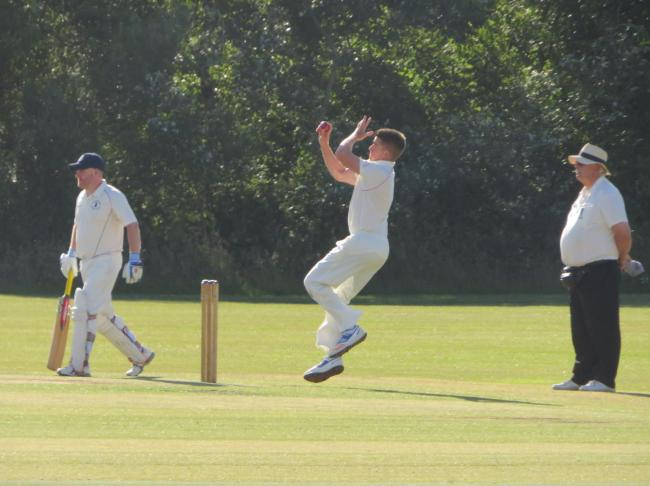 Sion Jenkins bowls for Carew 2nds at Haverfordwest. PICTURE: Western Telegraph.