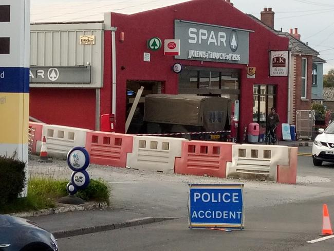 The Landrover smashed through the front of the Spar store at Crymych. PICTURE: Paul Beesley