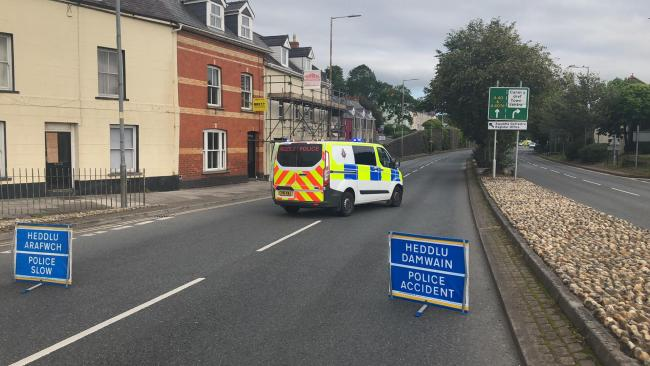 Police have closed Cartlett Road in Haverfordwest. PICTURE: Western Telegraph.