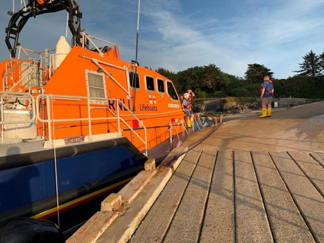 The Tenby lifeboat alongside the jetty at Caldey Island during yesterday's medevac. PICTURE: Tenby RNLI