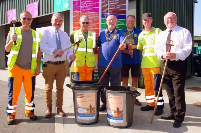 Pictured at the new Tools for Africa collection container at Crane Cross are (left to right) Mark Bamford, Cllr Cris Tomos, Vivian Davies, Brian Jenkins, (President of Saundersfoot Rotary), John Walker-Smith, Phil Bartlett and Cllr Phil Baker, County Coun