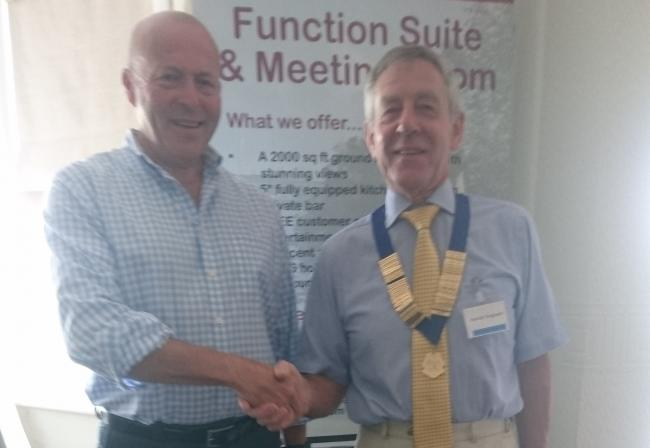 Pictured, from left, are: Michael Ashbridge, Humanists UK, and Hamish Ferguson, president Milford Haven and District Probus Club.