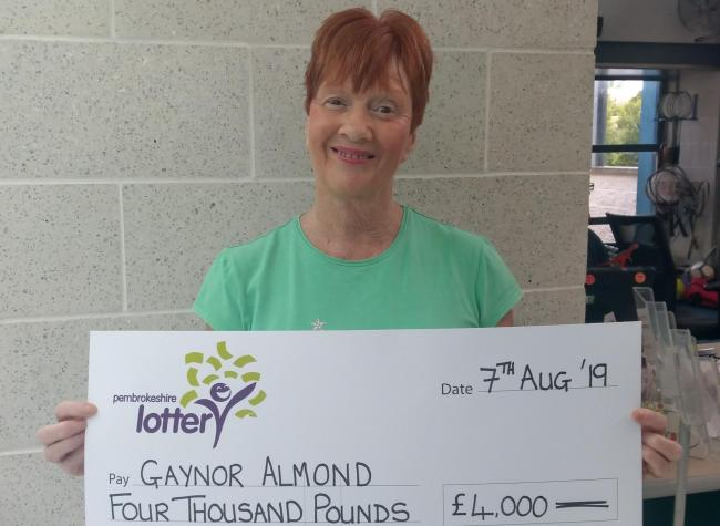 Gaynor Almond from Milford Haven has won £4,000 on the Pembrokeshire Lottery Superdraw.