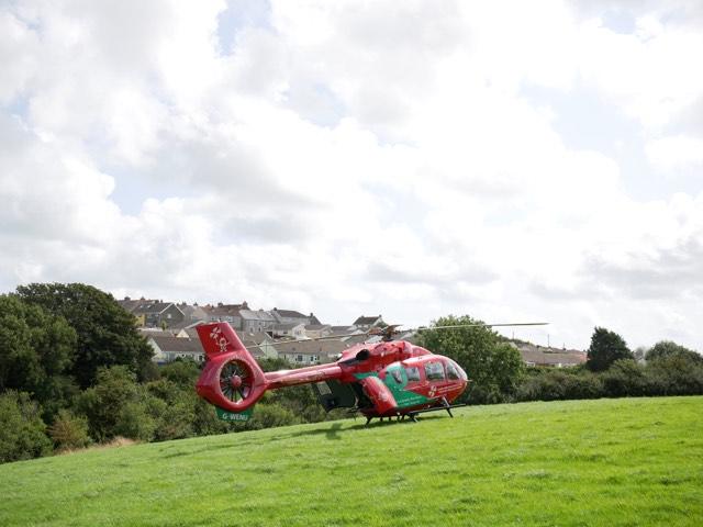 Air ambulance lands in Neyland for medical emergency