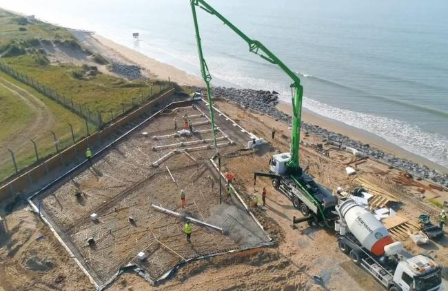 Concrete is poured for the new Sands of Speed Museum at Pendine.