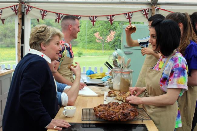 A scene from last night's Bake Off, where Michelle chats with presenter Sandi Toksvig. PICTURE: Channel 4