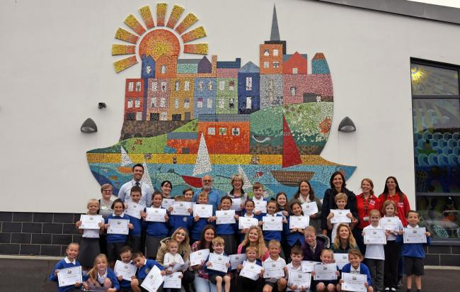 'A new landmark for Tenby' - the magnificent mural on the wall of the town's Church in Wales Primary School.