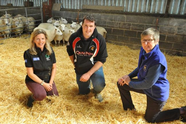 Sarah Hughes, Farming Connect technical officer with Irwel Jones and Kate Hovers