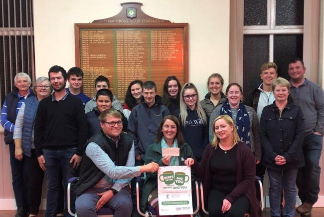 Tiers Cross YFC members present a cheque for £800 to Rachel Kersey, from the Macmillan Cancer Support Centre in Withybush Hospital.