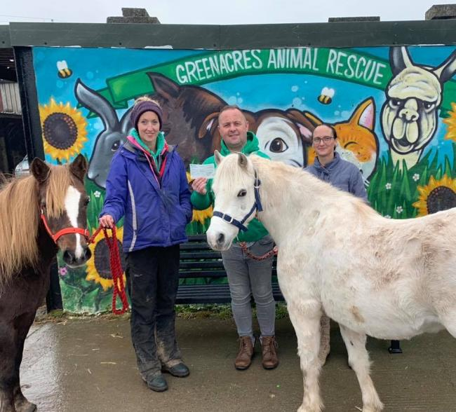 Pembrokeshire Bridleways Association recently presented a cheque for £170 to Greenacres animal rescue.