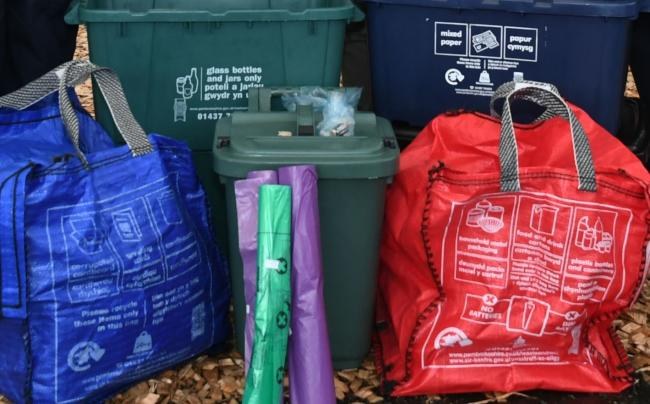 New recycling bags and boxes. PICTURE: Pembrokeshire County Council