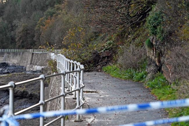The landslip has blocked access for walkers and cyclists. PICTURE: Gareth Davies Photography