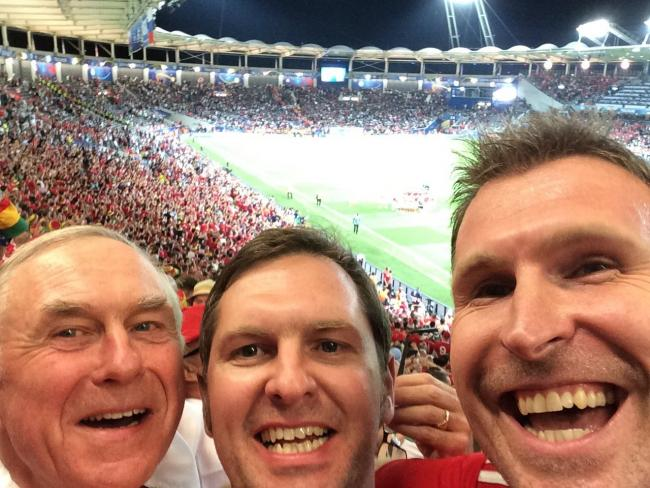 Gareth John (centre) with dad Mike and friend Simon Glanville in Toulouse in Euro 2016.