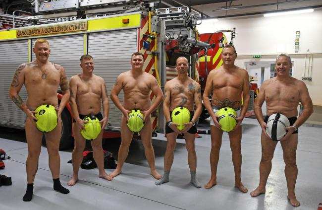 Haverfordwest firefighters get ready to go the 'Full Monty'. PICTURE: Martin Cavaney Photography.