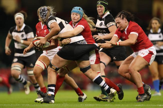Amy Evans, right, in action during Wales' clash with the Barbarians