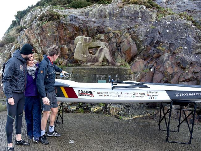 Jordan Wylie launches the scully alongside Ed Charlesworth and Julia Kirkham. PICTURE: Johnny Morris.
