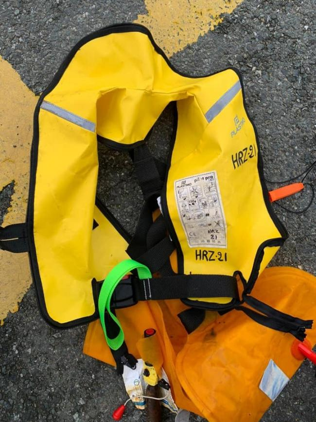 The lifejacket washed up at Newgale. PICTURE: H M Coastguard Broad Haven.