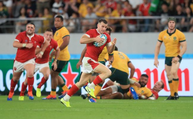 INTERCEPTED: Gareth Davies races over for Wales after picking off an Australia pass