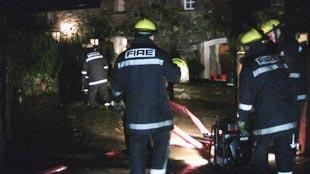 Fire fighters were called to the village of St Nicholas at 5.32 am to pump out flooded properties. Pic: Gaynor McMorrin