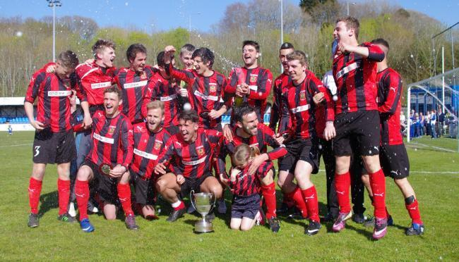 Tenby celebrate their 2013/14 Senior Cup win.