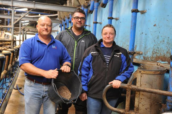 Simon John (centre), pictured with Ed Goddard and Rachael Rees, is making cost savings by calibrating feeders PICTURE: Debbie James