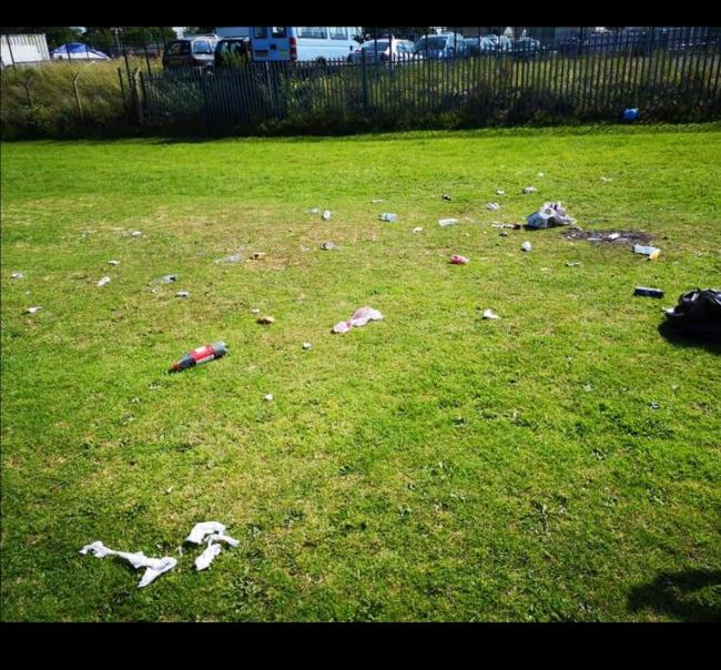 Police said a 'significant' amount of rubbish was left on the field