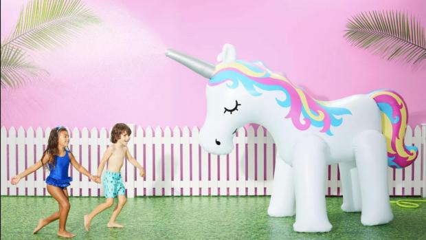Western Telegraph: This unicorn sprinkler looms above kids, but it's a good size for adults, too. Credit: Sun Squad