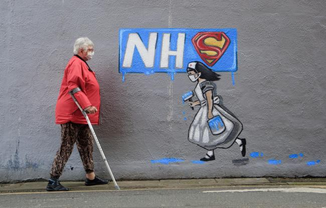 A mural supporting the NHS, similar this one by artist Rachel List, in Pontefract, Yorkshire, could be Fishguard's permanent memorial to Covid-19. Picture: Danny Lawson/PA Wire