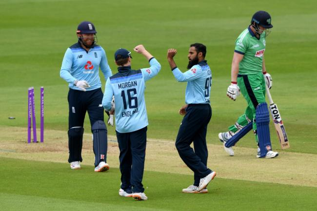 Adil Rashid, second right, reached 150 ODI wickets (Mike Hewitt/PA)