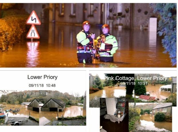 Scenes during the flooding and the aftermath. Main Picture: Martin Cavanay. Inset pictures: Council webcast