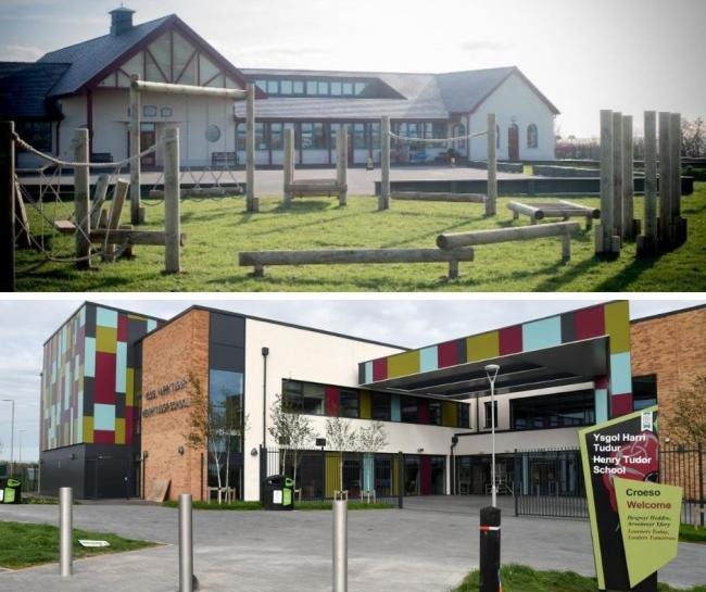 Spittal VC School (top) and Henry Tudor School in Pembroke (bottom) have partially closed today (November 23)
