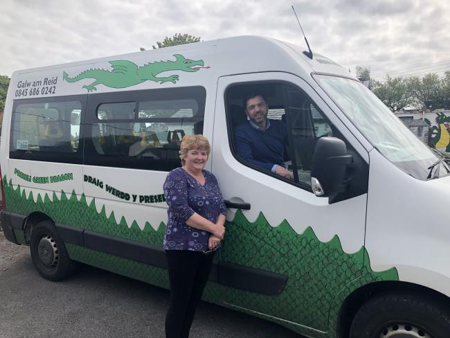 Green Dragon Bus manager Caroline Wilson with Preseli Pembrokeshire MP Stephen Crabb