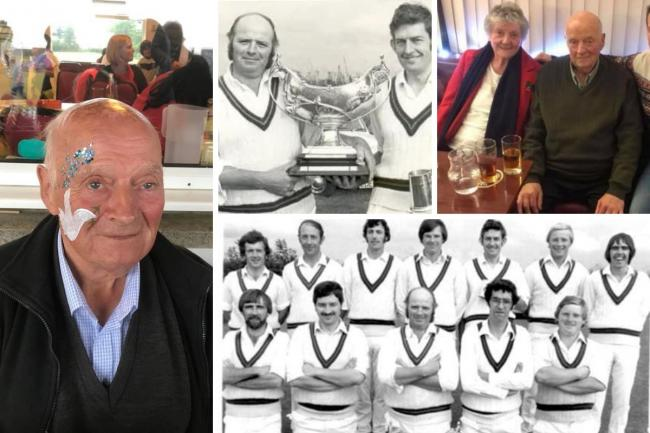 Maurice Cole is pictured with his wife Janet and his team-mates at his beloved Cresselly Cricket Club