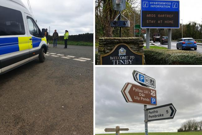 Police remind people of the regulations at Bosherston, while the 'stay at home' message is spelt out at the entrance to Tenby. Pictures: Dyfed-Powys Police/Gareth Davies Photography