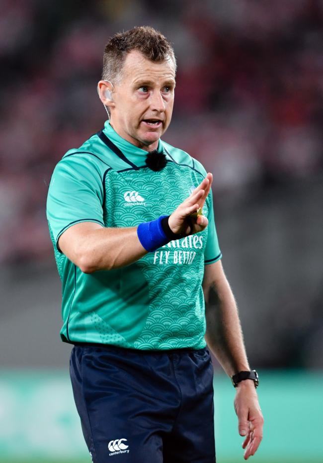 Referee Nigel Owens during the Pool A match between Japan and Russia at the Tokyo Stadium, Tokyo, Japan. Picture date: Friday September 20, 2019. See PA story RUGBYU Japan. Photo credit should read: Ashley Western/PA Wire. RESTRICTIONS: Editorial use only