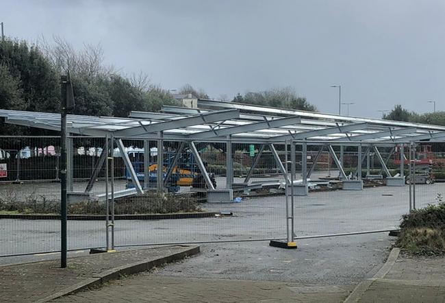 The solar car parking canopies in County Hall car park will contribute to the project's £200,000 saving each year