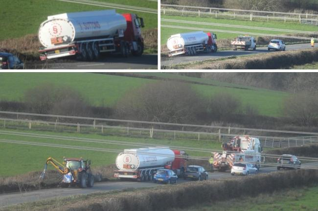 Western Telegraph reader Andreas Lindmiere photographed the tanker on the A478 this afternoon