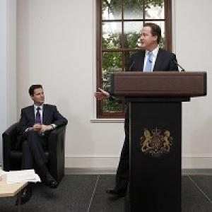 Nick Clegg and David Cameron launch the Coalition Agreement document