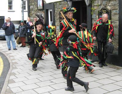 The official opening of the 2011 Fishguard Folk Festival outside the Royal Oak pub in the centre of town.