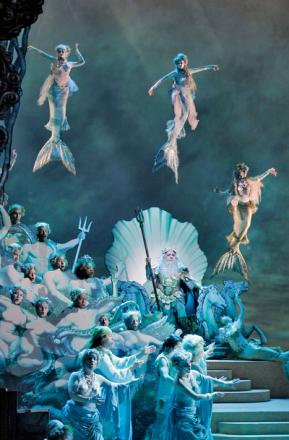 SPECTACULAR: The Enchanted Island features Placido Domingo (inset) as Neptune. Picture by Ken Howard/Metropolitan Opera.