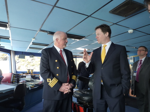 Deputy Prime Minister Nick Clegg met captain Colm Clare aboard the Stena Europe
