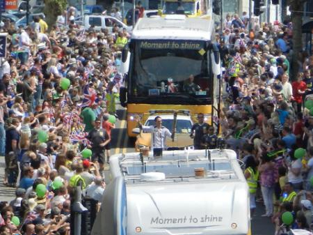 Thousands turn out to cheer on the runners who carried the Olympic flame through Pembrokeshire.