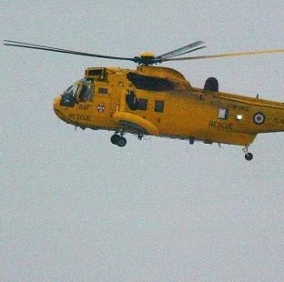 RAF Sea King helicopters are in attendance at the Riverside Caravan Park in Llandre, near Aberystwyth