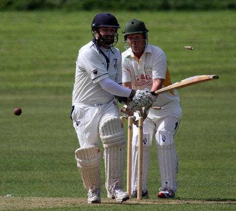 Town skipper Huw Scriven is bowled against St Ishmaels at the Racecourse. Picture Susan McKehon