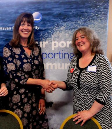 LAUNCH: Stella Hooper from Milford Haven Port Authority and Sue leonard, Chief Officer at PAVS, launch Treats for Time.