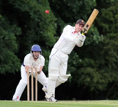 Gareth Lewis hits a boundary for Carew. Picture: Susan McKehon