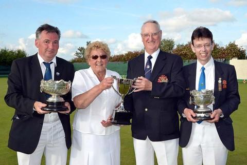 Ashley Hooper Tenby BC, Sudbury Bowl winner, Kay Cole and Gerard Thomas Pembroke Dock BC, Les and Di Mixed Pairs Trophy Winners, Nigel Davies Whitland BC, Alfred Phillips Bowl winner.